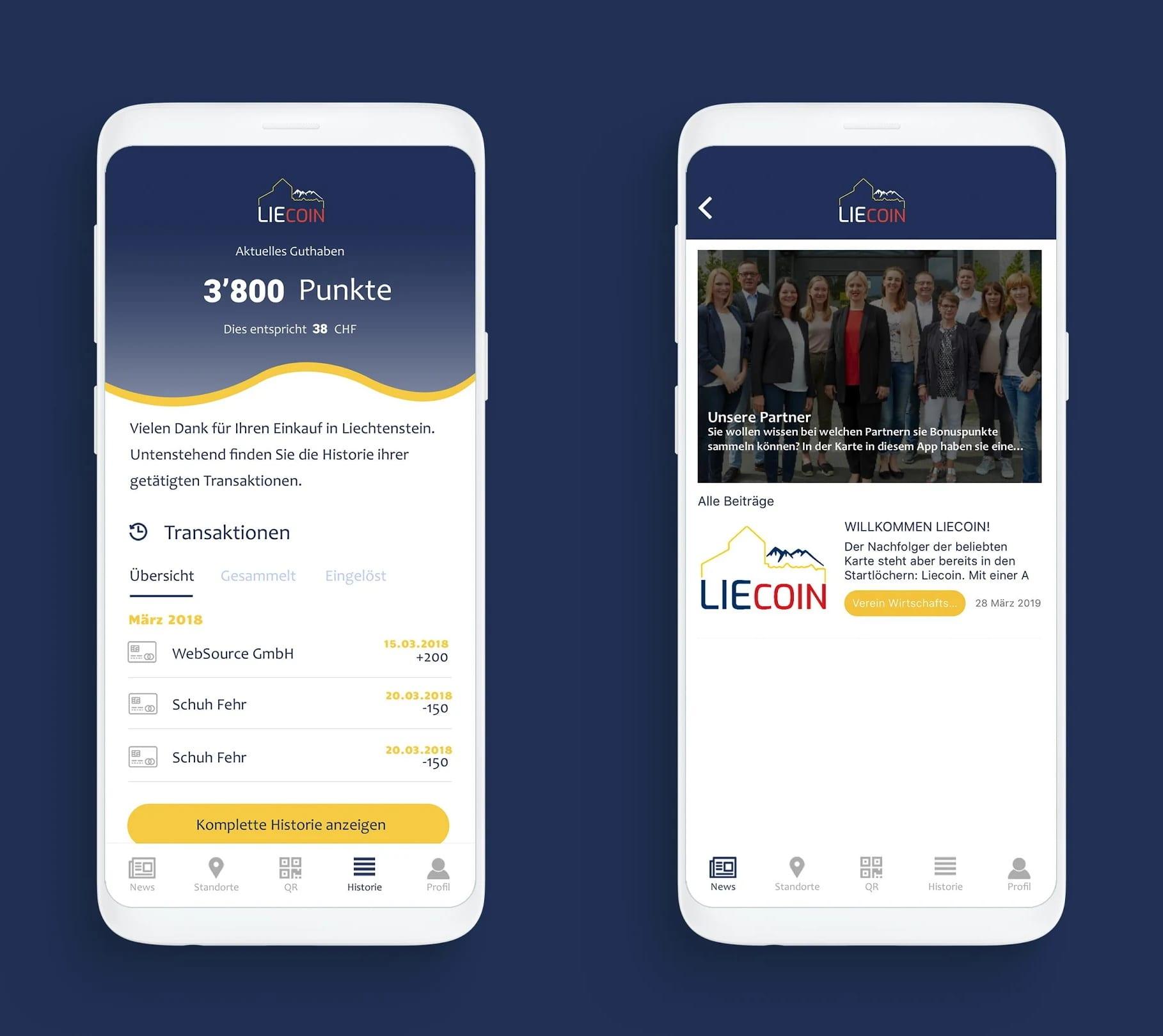 Liecoin App - Screendesign